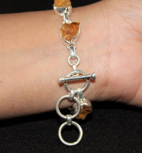 Raw Cut Yellow Topaz Bracelet In Sterling Silver - Little Elephant