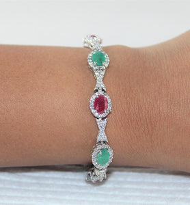 Sterling Silver Ruby and Emerald Bracelet with Cubic Zirconia - Little Elephant