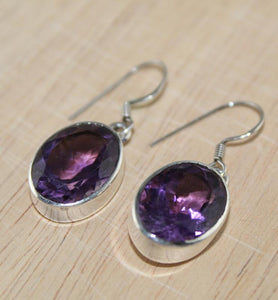 Large Amethyst Drop Earrings - Little Elephant