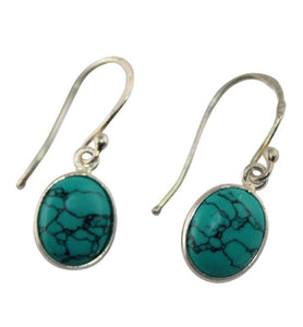 Dainty Oval Turquoise Earrings - Little Elephant