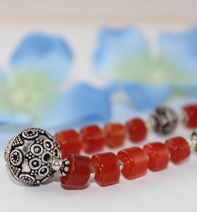Carnelian Boho Style Necklace with Sterling Silver Beads - Little Elephant