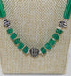 Green Onyx Boho Style Necklace with Sterling Silver Beads - Little Elephant