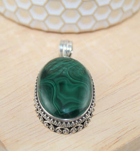 Malachite Pendant - Little Elephant