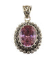 Bright Pink Victorian CZ Oval Pendant - Little Elephant