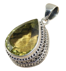 Lemon Topaz Teardrop Pendant - Little Elephant