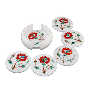 Red Floral Coaster Set - Little Elephant
