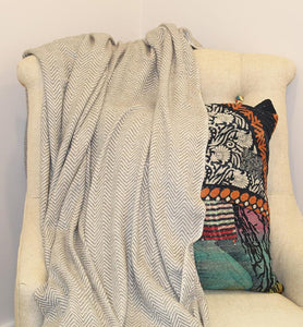 Grey Herringbone Pattern Throw With A Fringed Finish Throw - Little Elephant