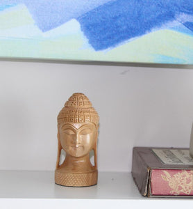 Hand Carved Wood Buddha's Head Statuette  - Little Elephant