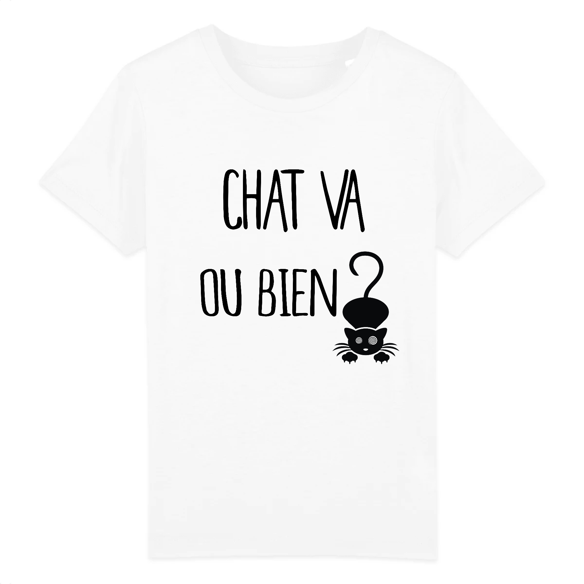t-shirt chat va ou bien enfant
