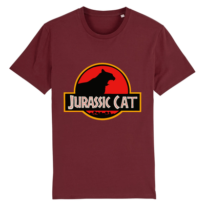 tee-shirt jurassic park chat couleur bordeaux