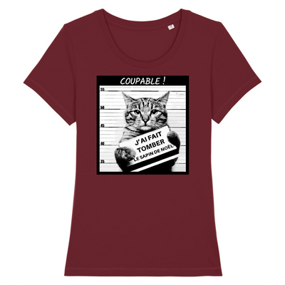 t-shirt chat humour couleur bordeaux