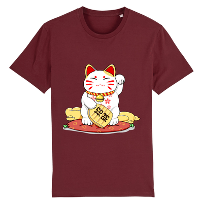 Tee-Shirt Chat Maneki Neko couleur bordeaux