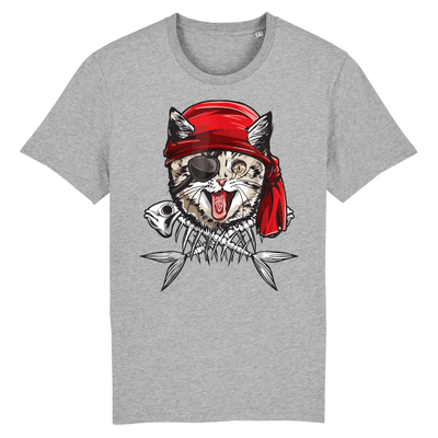 tee-shirt chat pirate couleur gris