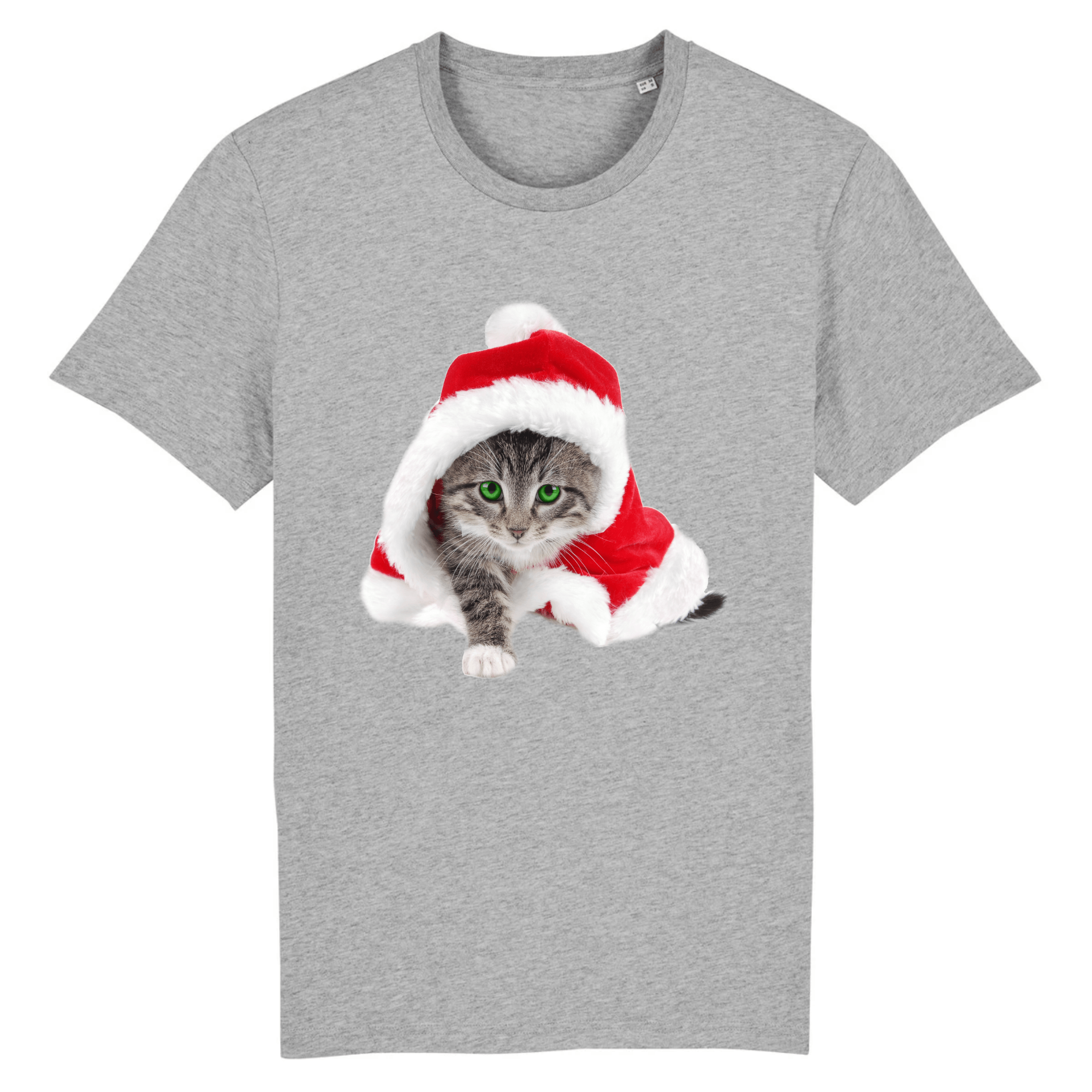 tee-shirt chat noël couleur gris
