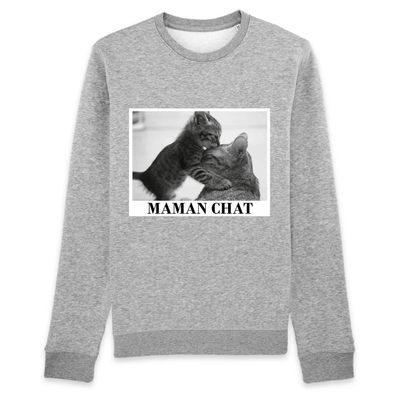 pull maman chat couleur gris