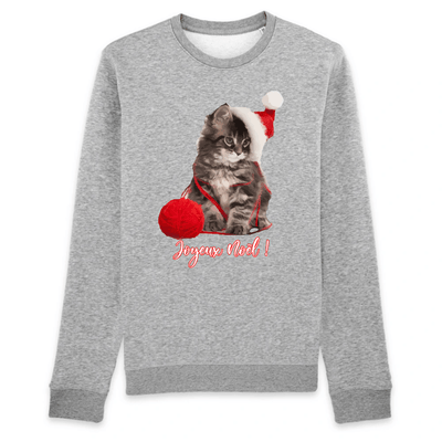 pull chat de noël couleur gris