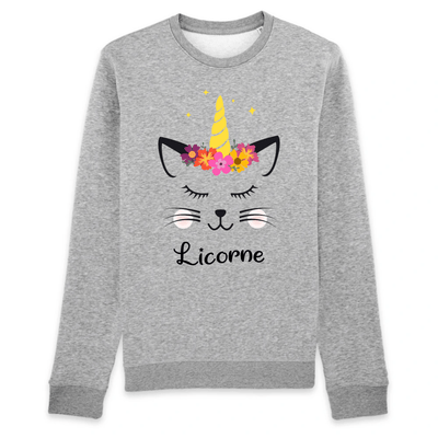 pull chat licorne couleur gris
