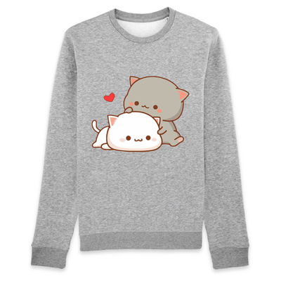pull chat kawaii couleur gris