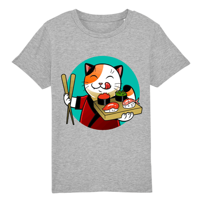t-shirt chat sushi enfant couleur gris