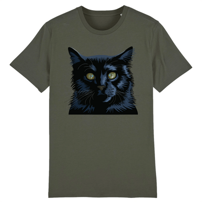 tee-shirt chat noir couleur kaki