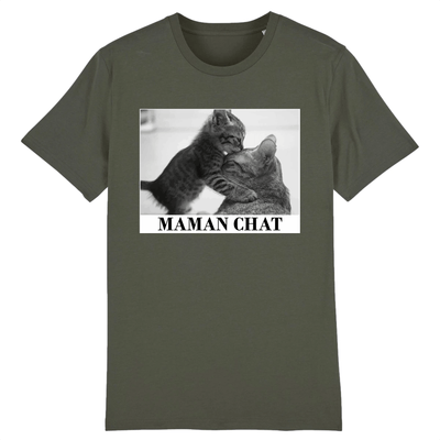 tee-shirt chat maman couleur kaki