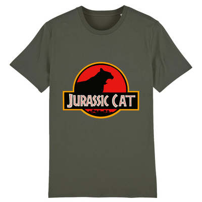 tee-shirt jurassic park chat couleur kaki