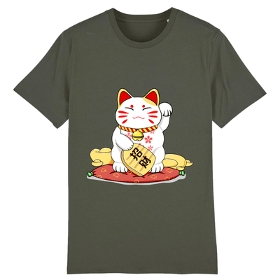 Tee-Shirt Chat Maneki Neko couleur kaki