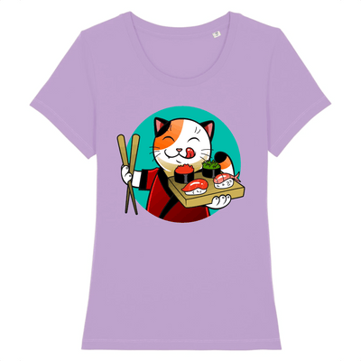 t-shirt chat sushi couleur lavande