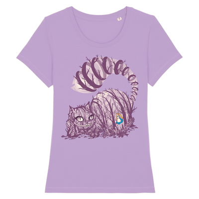 t-shirt chat cheshire couleur lavande