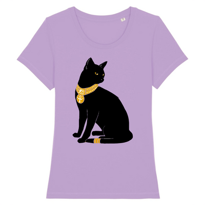 t-shirt chat bastet couleur lavande