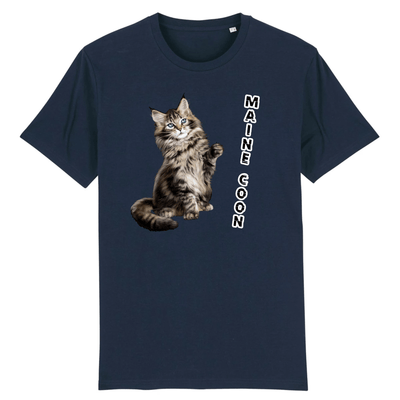 tee-shirt chat maine coon couleur marine