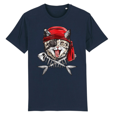 tee-shirt chat pirate couleur marine