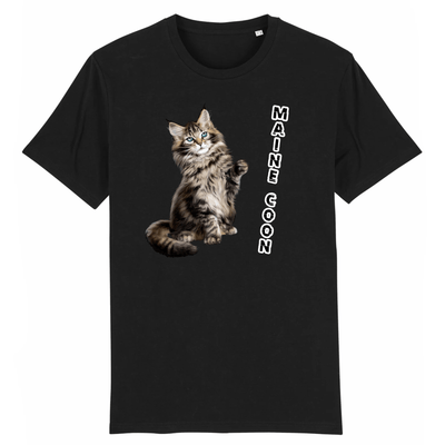 tee-shirt chat maine coon couleur noir
