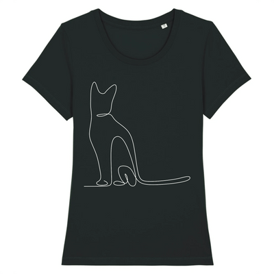 t-shirt chat motif discret couleur noir