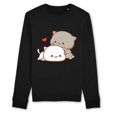 pull chat kawaii couleur noir