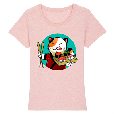 t-shirt chat sushi couleur rose