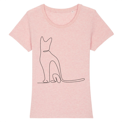 t-shirt chat motif discret couleur rose
