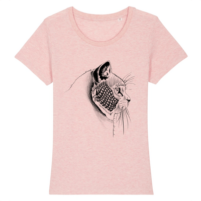 t-shirt tête de chat couleur rose
