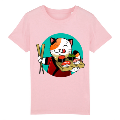 t-shirt chat sushi enfant couleur rose