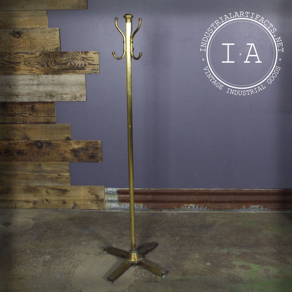 Vintage Industrial Brass Garment Rack Hall Tree