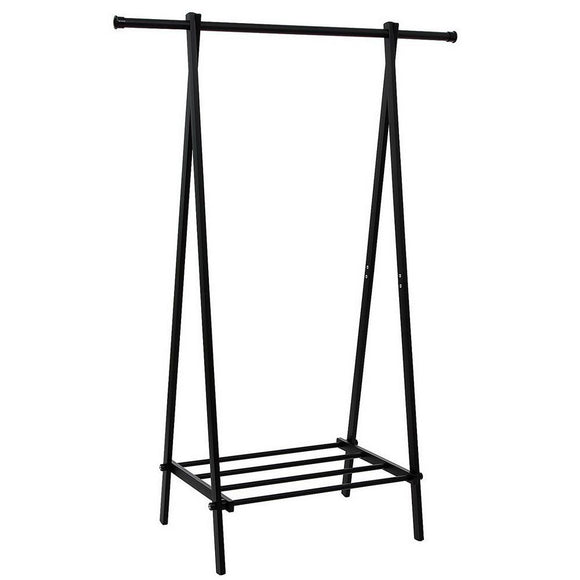 One-tier Garment Rack Metal Clothes Coat Shoe Storage Shelf Black