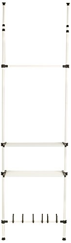 Mind Reader Clothing Garment Rack and Shoes Rack, 2 Shelves Organizer, Commerical, White