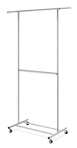 Whitmor Heavy-Duty 2-Rod Extendable Clothing Garment Rack, Chrome