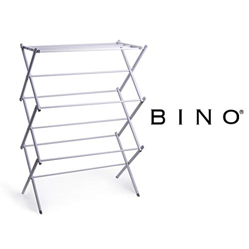 BINO 3-Tier Collapsing Foldable Laundry Drying Rack, White