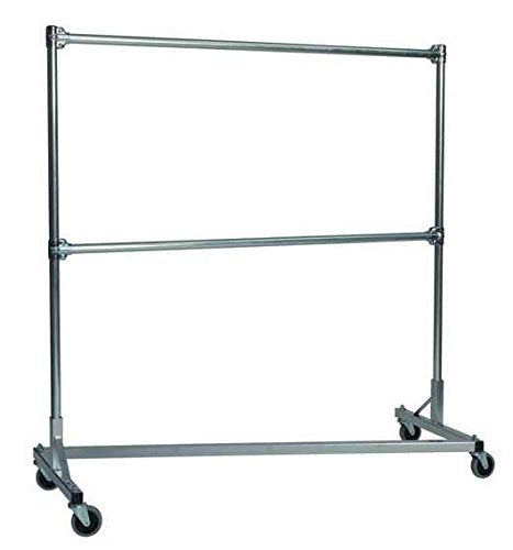 Heavy Duty Z-Rack Garment Rack w 5 ft. Double Rail in Silver