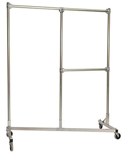 Heavy Duty Split Rail Garment Rack w Half Middle Rail in Silver