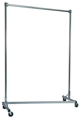 Heavy Duty Z-Rack Garment Rack w 5 ft. Single Rail in Silver