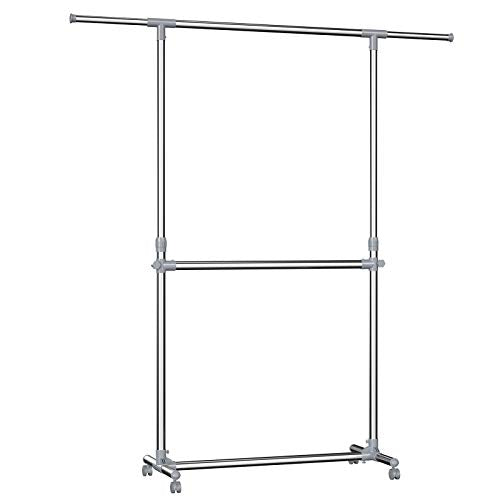 SONGMICS Double Rod Clothes Rack, Adjustable Garment Clothing Rack, Hanging Rail on Wheels, Gray ULLR401