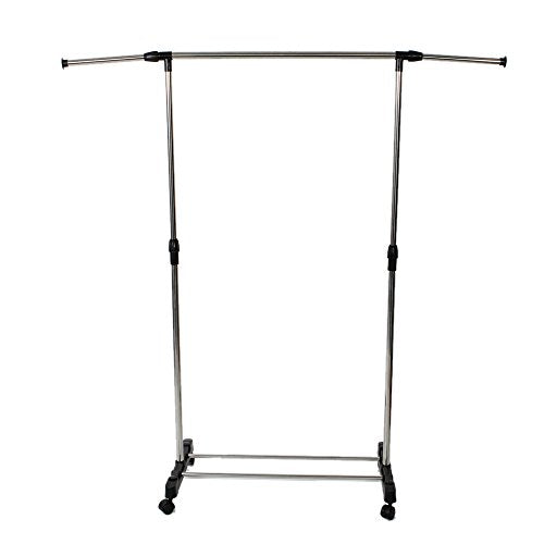 HOBBYN Clothing Rack,Adjustable 2-Rod Garment Rack - Rolling Clothes Organizer -Silver
