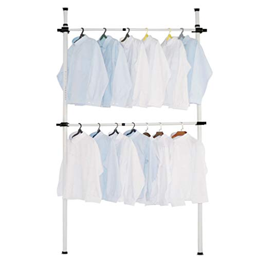 Asunflower Clothes Rack Hanger, Clothes Bar No Drilling 2-Tier Adjustable Garment Rack Heavy Duty Clohthing Organizer System